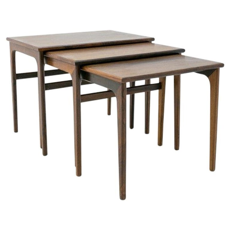 Set of Three Rosewood Nesting Tables, Scandinavian Modern, 1970s For Sale