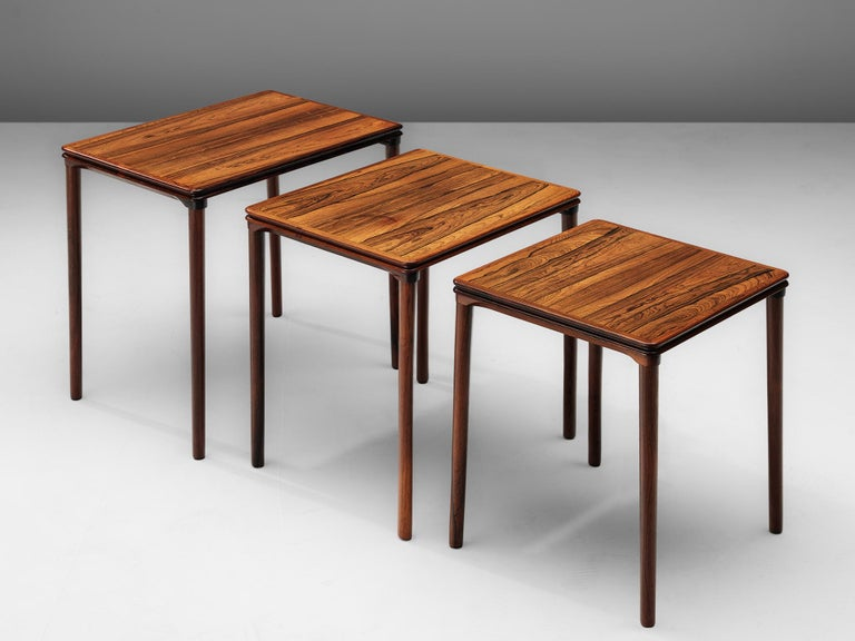 Nesting tables, in rosewood, Scandinavia, 1960s. 