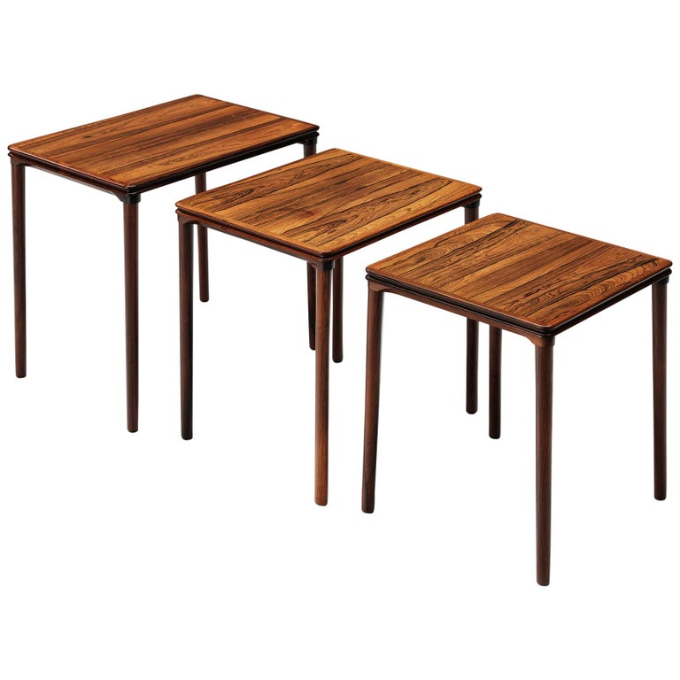 Set of Three Rosewood Nesting Tables with Elegant Details For Sale