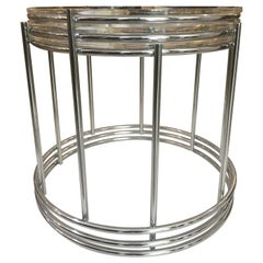 Set of Three Round, Polished Chrome Nesting Tables