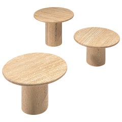 Set of Three Round Travertine Cocktail Tables