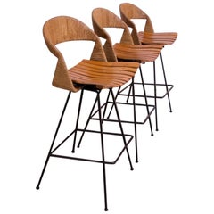 Set of Three Rush and Iron Swiveling Stools by Arthur Umanoff, Five Available