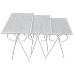 Set of Three Salterini Mid-Century Modern Wrought Iron Patio Nesting Tables