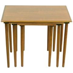 Set of Three Scandinavian Modern Teak Nesting Tables