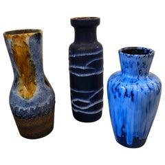 Set of Three Fat Lava Ceramic German Vases, circa 1970