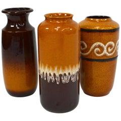 Set of Three Scheurich West-Germany Ceramic Vases, 1970s