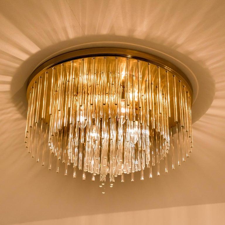 Mid-Century Modern Set of Three Sciolari Glass Rod Waterfall Light Fixtures for Lightolier, Italy For Sale