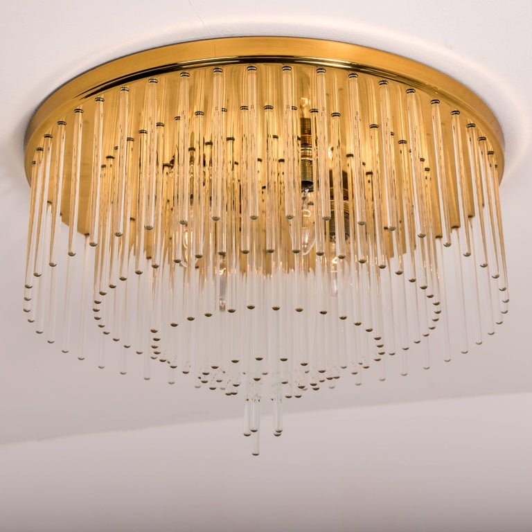 Brass Set of Three Sciolari Glass Rod Waterfall Light Fixtures for Lightolier, Italy For Sale