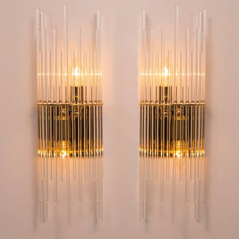 Set of Three Sciolari Glass Rod Waterfall Light Fixtures for Lightolier, Italy For Sale 1