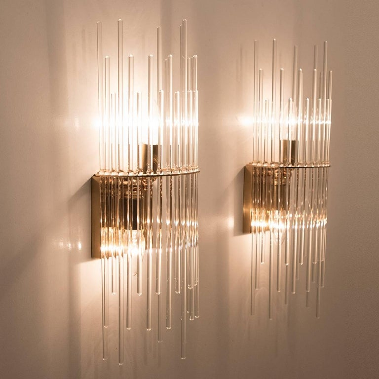 Set of Three Sciolari Glass Rod Waterfall Light Fixtures for Lightolier, Italy For Sale 2