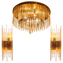 Set of Three Sciolari Glass Rod Waterfall Light Fixtures for Lightolier, Italy