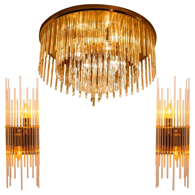Set of Three Sciolari Glass Rod Waterfall Light Fixtures for Lightolier, Italy For Sale
