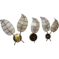 Set of Three Sconces 1960s Brass and Mother of Pearl