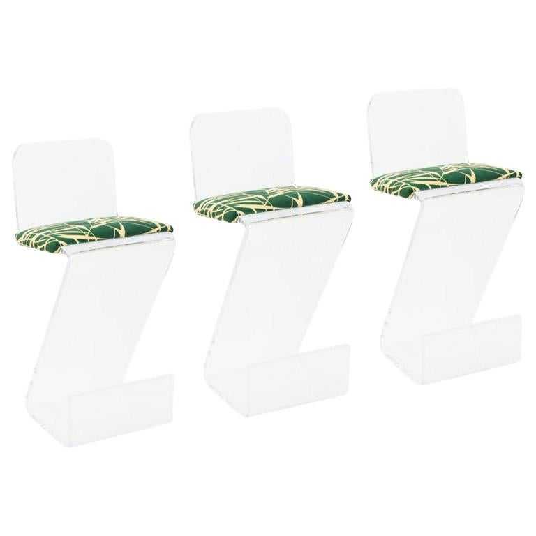 Set of Three Sculptural Lucite Bar Stools For Sale