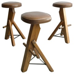 Set of Three Sculptural Oak and Metal Barstools, France, 1960s