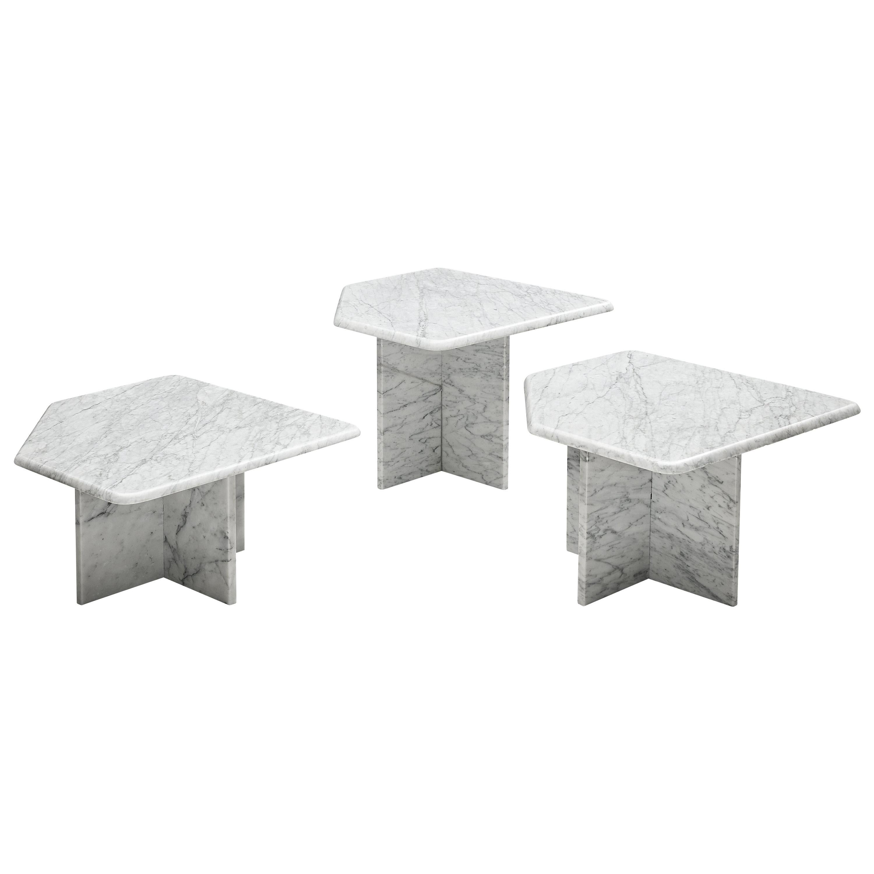 Set of three Sculptural Side Tables in White Marble