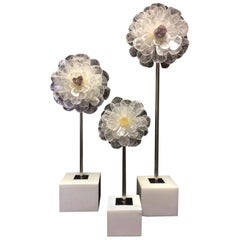 Set of Three Selenite and Quartz Flowers