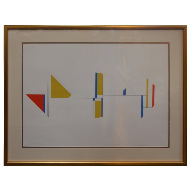 Three colorful geographic serigraphs by Ilya Bolotowsky. All three prints have been re-framed with UV protected acrylic. Along with new matting. Diamond, circle and diamond are signed in the bottom right corner, 121/125 Rectangles, signed bottom
