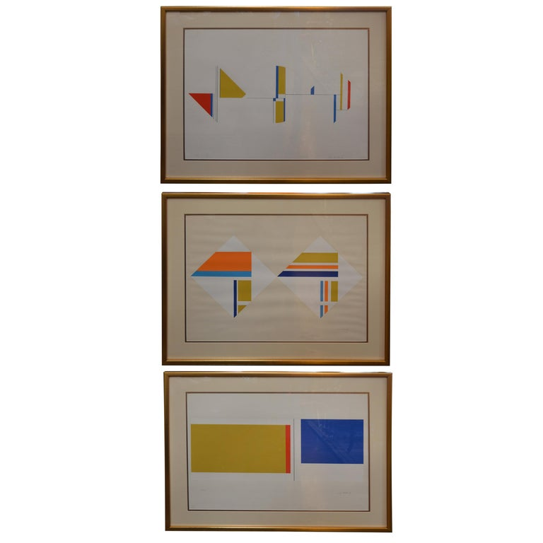 Set of Three Serigraphs by Ilya Bolotowsky For Sale