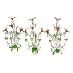 Set of Three Shabby Chic Flower Leaf Tole Sconces Polychrome Metal, 1960s, Italy