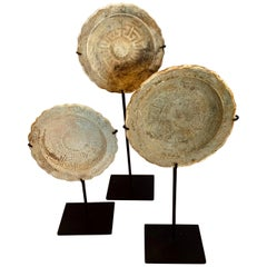 Set of Three Ship Wrecked Saucers on Stands, Cambodia, 18th Century