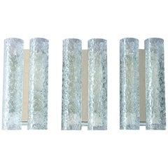 Set of Three Signed Doria White Metal Chrome Ice Glass Tube Sconces Kalmar Style