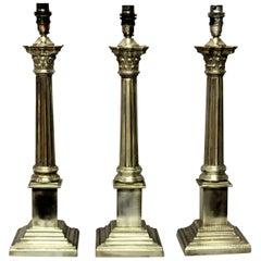 Set of Three Silver Plated Corinthian Column Lamps