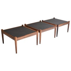 "Set of Three Slate and Rosewood Coffee Tables ""Universe"" by Kai Kristiansen 1960"