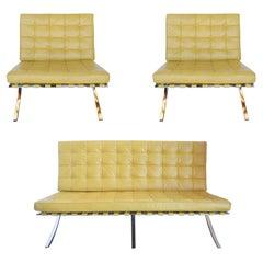 Set of Three, Sleek Barcelona Chairs and Sofa, c 1970s