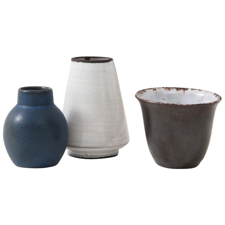 Set of Three Small Midcentury Vases, Delft, Netherlands For Sale