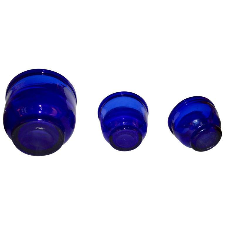 Set of three Small Swedish cobalt blue hand blown glass bowl or trinkets.