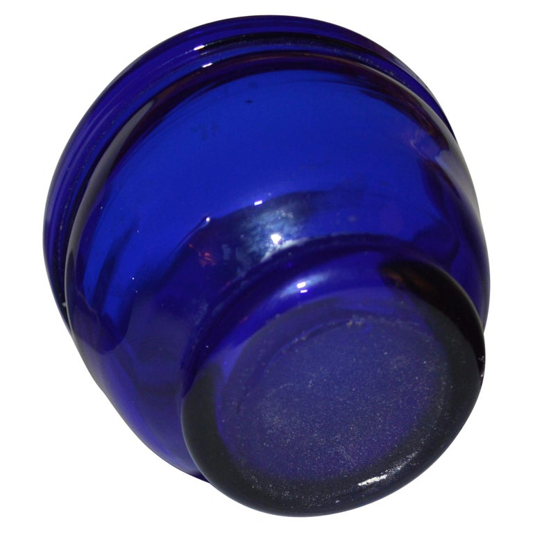 Rustic Set of three Small Swedish Cobalt Blue Hand Blown Glass Bowl or Trinkets For Sale