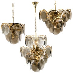 Set of Three Smoked Glass and Brass Chandeliers in the Style of Vistosi, Italy