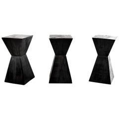 Set of Three Solid Oak Pedestal Tables in the Manner of Christian Liaigre