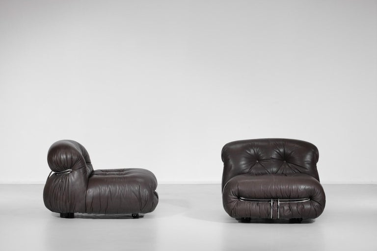 Set of Three Soriana Armchairs by Tobia Scarpa Published by Cassina For Sale 3