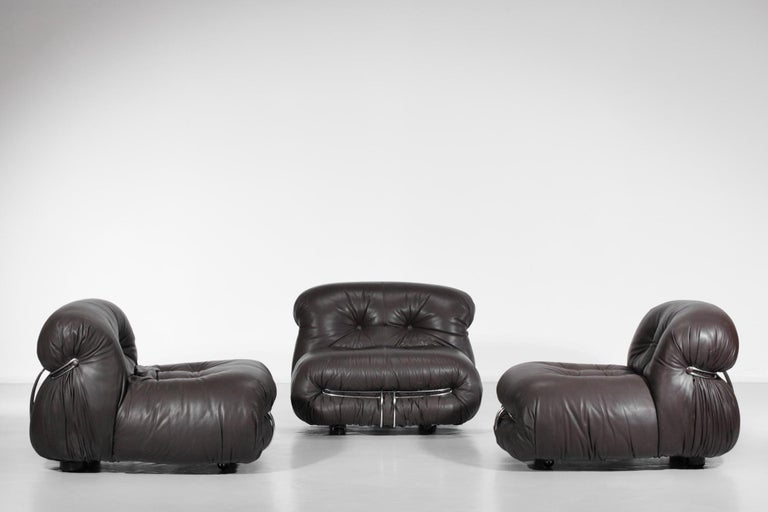 Mid-Century Modern Set of Three Soriana Armchairs by Tobia Scarpa Published by Cassina For Sale