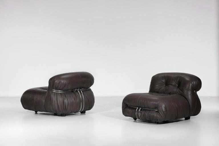 Italian Set of Three Soriana Armchairs by Tobia Scarpa Published by Cassina For Sale