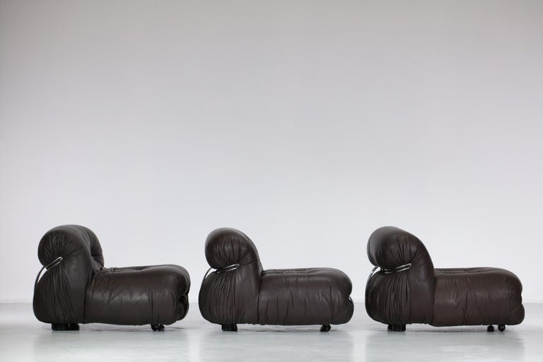 Set of Three Soriana Armchairs by Tobia Scarpa Published by Cassina In Good Condition For Sale In Lyon, FR