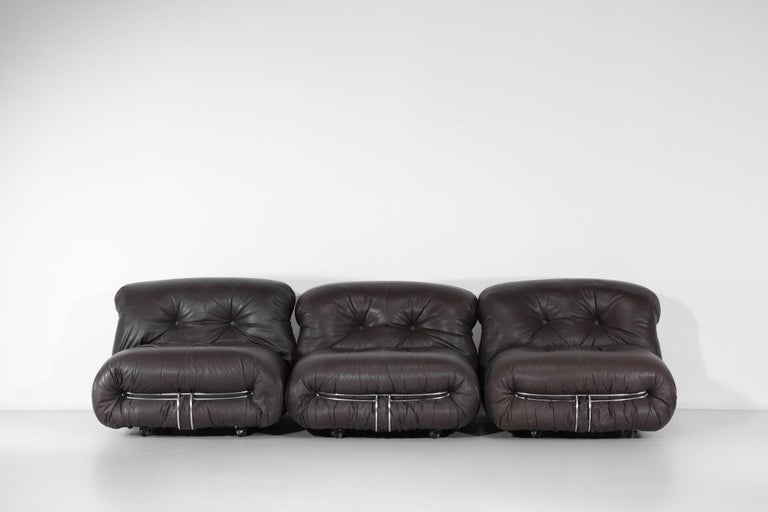 Steel Set of Three Soriana Armchairs by Tobia Scarpa Published by Cassina For Sale