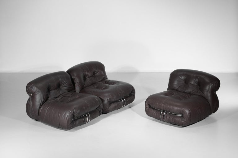 Set of Three Soriana Armchairs by Tobia Scarpa Published by Cassina For Sale 1