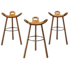 Set of Three Spanish Brutalist Marbella Bar Stools