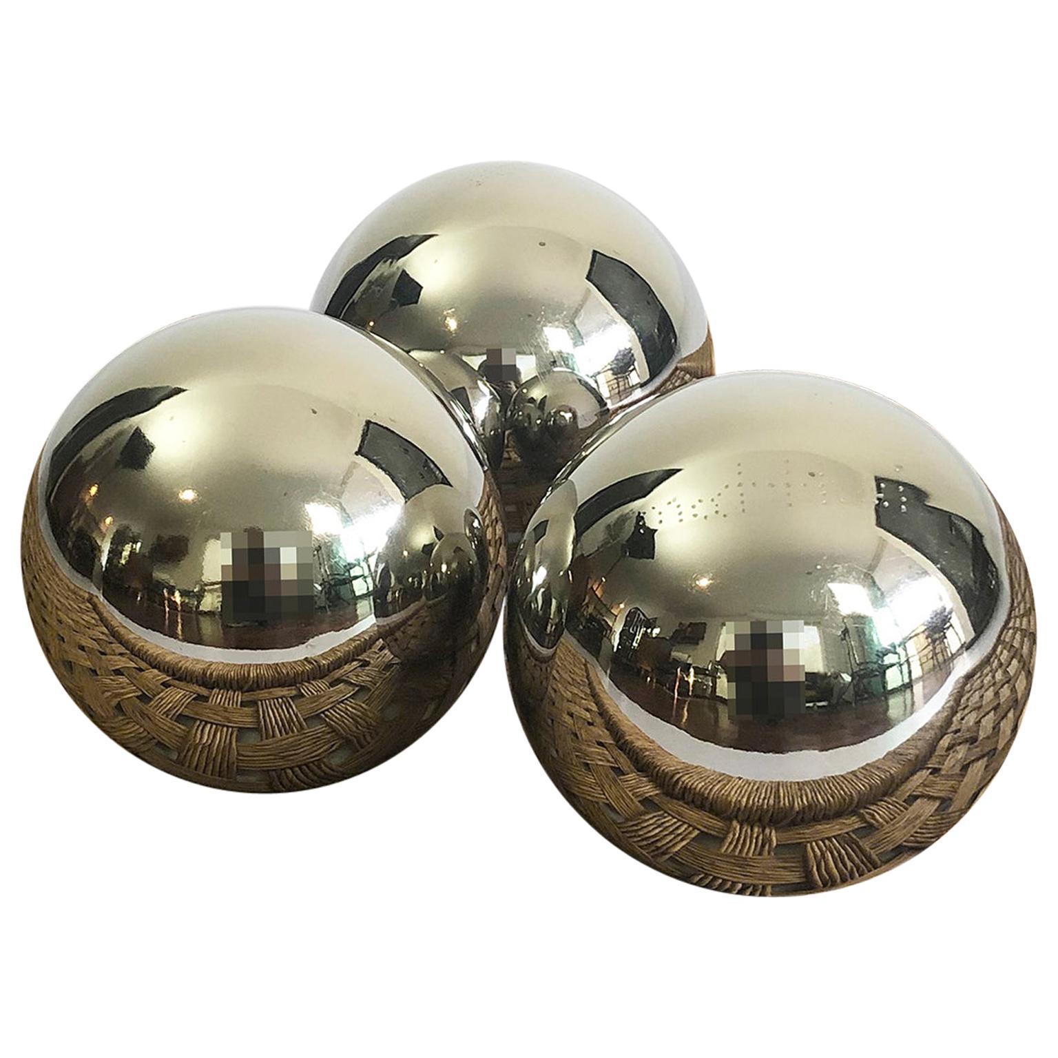 Set of Three Spheres circa 1990 Chromed Metal by Diego Matthai