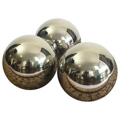 Set of Three Spheres circa 1990 Chromed Metal by Diego Matthai