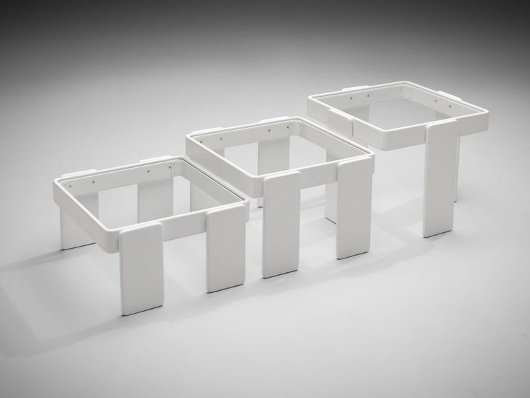 Italian Set of Three Stackable Nesting Tables in Wood and Glass For Sale