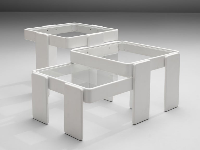 Late 20th Century Set of Three Stackable Nesting Tables in Wood and Glass For Sale