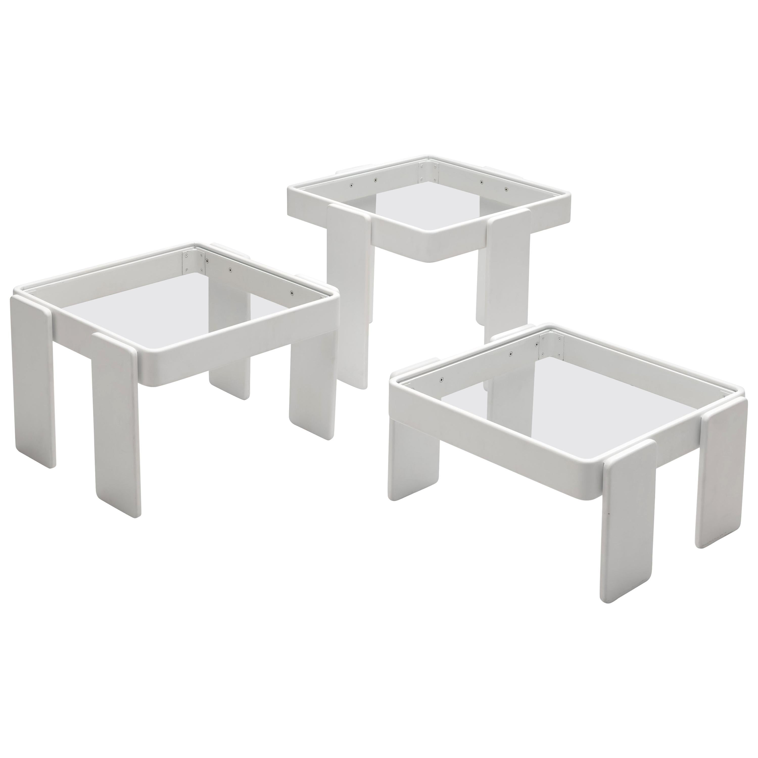 Set of Three Stackable Nesting Tables in Wood and Glass