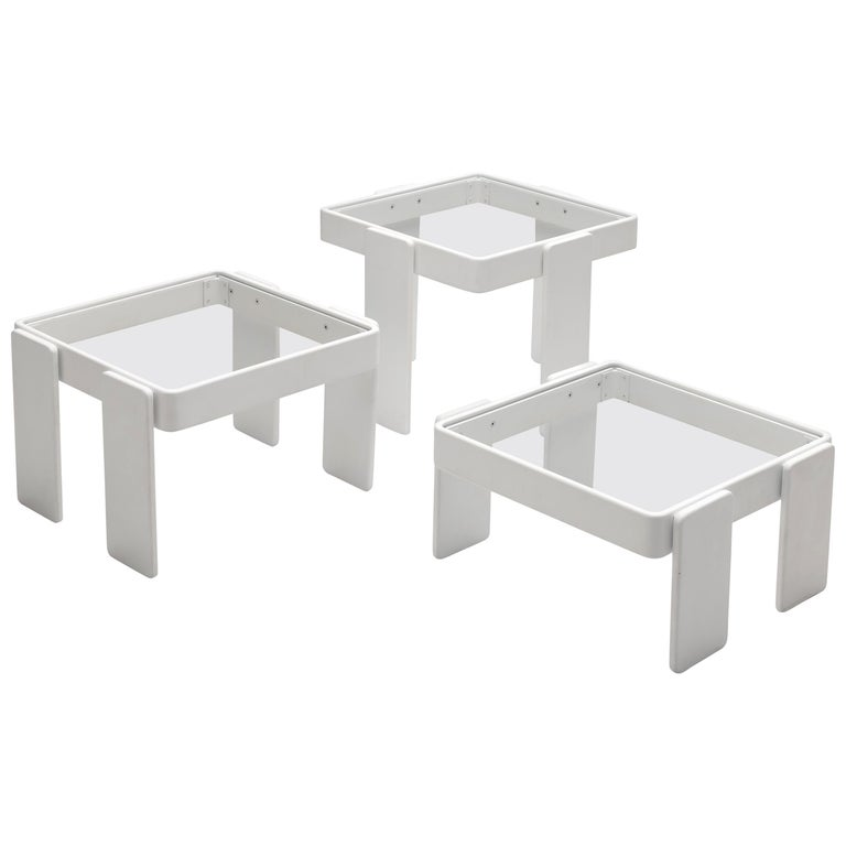 Set of Three Stackable Nesting Tables in Wood and Glass For Sale