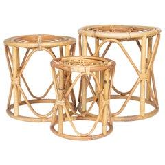 Set of Three Stacking Bamboo Stools