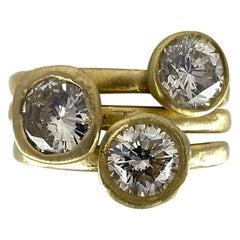 Set of Three Stacking Diamond Solitaires in 18 Karat Yellow Gold