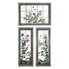 Set of Three Stained Glass Windows by Austrian Firm Glasmalerei Geyling